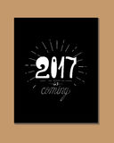 2017 - New Year and Christmas decoration element. Made in vector. Perfect design element for a New Year card. Drawn in sketch Royalty Free Stock Images