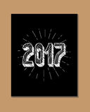 2017 - New Year and Christmas decoration element. Made in vector. Perfect design element for a New Year card. Drawn in sketch Royalty Free Stock Photography