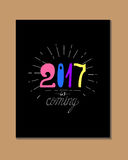 2017 - New Year. And Christmas decoration element made in vector. Perfect design element for a New Year card. Drawn in sketch Stock Photos