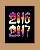 2017 - New Year. And Christmas decoration element made in vector. Perfect design element for a New Year card. Drawn in sketch Royalty Free Stock Image
