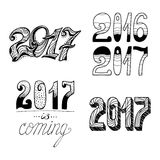 2017 - New Year. And Christmas decoration elements.Vector set. Perfect design elements for a New Year card. Drawn in sketch Stock Photo