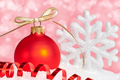 New Year 2015, Christmas decoration on festive background. New Year 2015, Christmas decoration, Christmas ball, snowflake, serpentine on festive background Stock Image