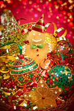 New Year 2015 Christmas decoration, handmade in basket Royalty Free Stock Images