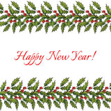 New year and Christmas decoration with holly. Vector illustration Stock Photography