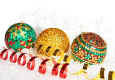 New Year 2015, Christmas decoration with serpentine on snow. New Year 2015, Christmas decoration, Christmas ball, snowflake, serpentine on snow Stock Photo