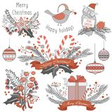 New Year and Christmas decoration set of gifts, animal toys, calligraphic balls, sweets and emblems. Stock Images