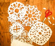 New Year/Christmas decoration - white paper snoflakes stock photography