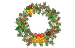 New Year and Christmas decoration wreath with red & yellow stars, bells, snowflakes, present box, gift Royalty Free Stock Photos