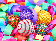 New Year 2015. Christmas decorations on colorful serpentine. New Year 2015. Christmas decorations, shiny balls, silver, gold on a colorful serpentine Stock Image