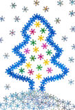 New Year 2015 decorations, Christmas tree and snow. Of colorful snowflakes on white background Stock Images