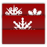 New Year and Christmas decorative card with snowflakes. Red background vector design. Winter holiday collection. New Year and Christmas decorative card with stock illustration