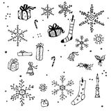 New Year and Christmas design elements. Black and white Royalty Free Stock Photos