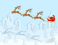 New Year Christmas. A drawing of Santa Claus arriving on deer. In color with a shadow over the city. illustration Stock Photos