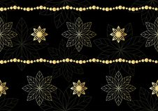 New year, Christmas eve background with golden snowflakes, garlands and balls. Seamless festive pattern for winter holiday design. Modern xmas, valentine Royalty Free Stock Image