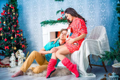 New year and Christmas in the family circle Royalty Free Stock Photo
