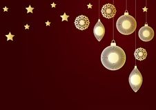 A New year or Christmas festive background with golden christmas balls, tassel, star light and a garland. A New year or Christmas festive background with golden Stock Image