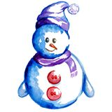 Colorful snowman watercolor in a hat stock illustration