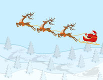 New Year Christmas. Figure of Santa Claus riding on a deer over a spruce forest. In color with shadows. illustration. New Year Christmas. Figure of Santa Claus Stock Image