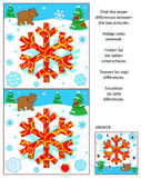 New Year or Christmas find the differences picture puzzle with bear and snowflake. New Year or Christmas visual puzzle: Find the seven differences between the stock illustration