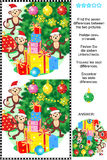 New Year or Christmas find the differences picture puzzle. New Year or Christmas holiday themed visual puzzle: Find the seven differences between the two Royalty Free Stock Photos