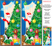 New Year or Christmas find the differences picture puzzle. New Year or Christmas holiday themed visual puzzle: Find the ten differences between the two pictures Stock Images