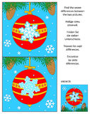 New Year or Christmas find the differences picture puzzle with red ball. New Year or Christmas visual puzzle: Find the seven differences between the two pictures vector illustration