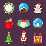 New Year and Christmas flat design icons Royalty Free Stock Photo