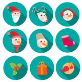 New Year and Christmas flat icons set Royalty Free Stock Photo