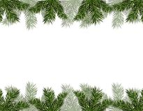 New Year Christmas. Flyer, business cards, cards, invitations. Green branches of trees from above and from below. Vector illustration Stock Photography