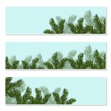 New Year Christmas. Flyer, business cards, invitations, postcards. Green tree branches close-up.  Illustration. New Year Christmas. Flyer, business cards Royalty Free Stock Images