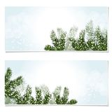 New Year Christmas. Flyer, business cards, postcards. invitations to the sale. Green tree branches in the snow.. Vector Illustration Royalty Free Stock Photos