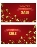 New Year Christmas. Flyer, business cards, postcards. invitations to the winter sale. Brilliant golden stars. A ribbon. With an inscription. vector illustration Stock Photos