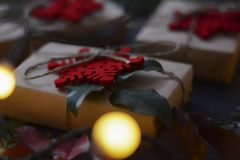 Christmas and new year gifts and decoration stock photo