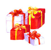 New year, christmas gifts. Red, white boxes. Watercolor Stock Photos