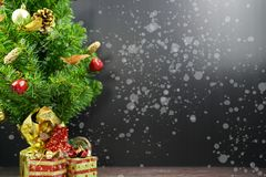 New year and Christmas Gifts on wood background stock photo