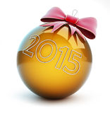 New year 2015  christmas glass ball red bow. Christmas glass ball red bow, new year 2015 on a white background Stock Image