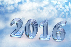 2016 New Year Christmas Glass Text On Snow. Background royalty free illustration