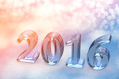 2016 New Year Christmas Glass Text On Snow Royalty Free Stock Image