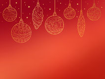 New year Christmas gold ball red background illustration Stock Photo
