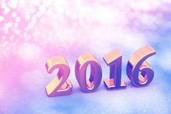 2016 New Year Christmas Golden Text On The Snow Royalty Free Stock Photo