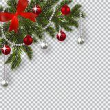 New Year Christmas. A green branch of a Christmas tree with toys with a shadow. Corner drawing. Blue onions, silver and. Red balls on a checkered background Royalty Free Stock Photos
