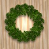 New Year Christmas. Green branch of spruce in the form of a Christmas wreath with shadow. against the background of. Natural wood. Vector illustration Stock Photography