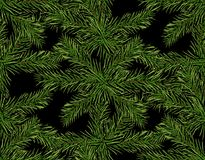New Year Christmas. Green tree branch close-up on a dark background. Seamless pattern.  Illustration. New Year Christmas. Green tree branch close-up on a dark Stock Photos