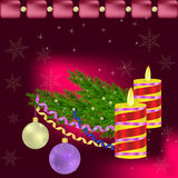New year and christmas greeting. Christmas background with Christmas tree, balls and candles vector illustration