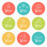 New Year and Christmas greeting badges with holiday symbols Royalty Free Stock Image