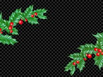 New Year or Christmas greeting card background template of fir or pine New Year tree branch and holly leaf wreath on premium black. Transparent. Vector Royalty Free Stock Photography