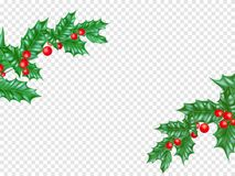 New Year or Christmas greeting card. New Year or Christmas greeting card background template of fir or pine New Year tree branch and holly leaf wreath on Stock Photography