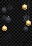 New Year or Christmas greeting card background template of golden ball and snowflake pattern on premium black. Vector Christmas wi. Nter holiday decoration on Royalty Free Stock Image