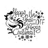 New Year And Christmas Greeting Card With Rooster. Happy New Year and Merry Christmas greeting card. Graphic typography illustration with funny cartoon rooster Stock Photos