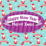 New Year and Christmas greeting card with Santa Cl Stock Image